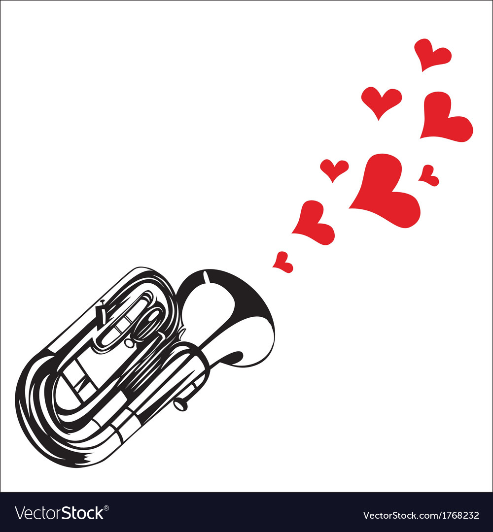 Heart love music trumpet playing a song for valent vector | Price: 1 Credit (USD $1)