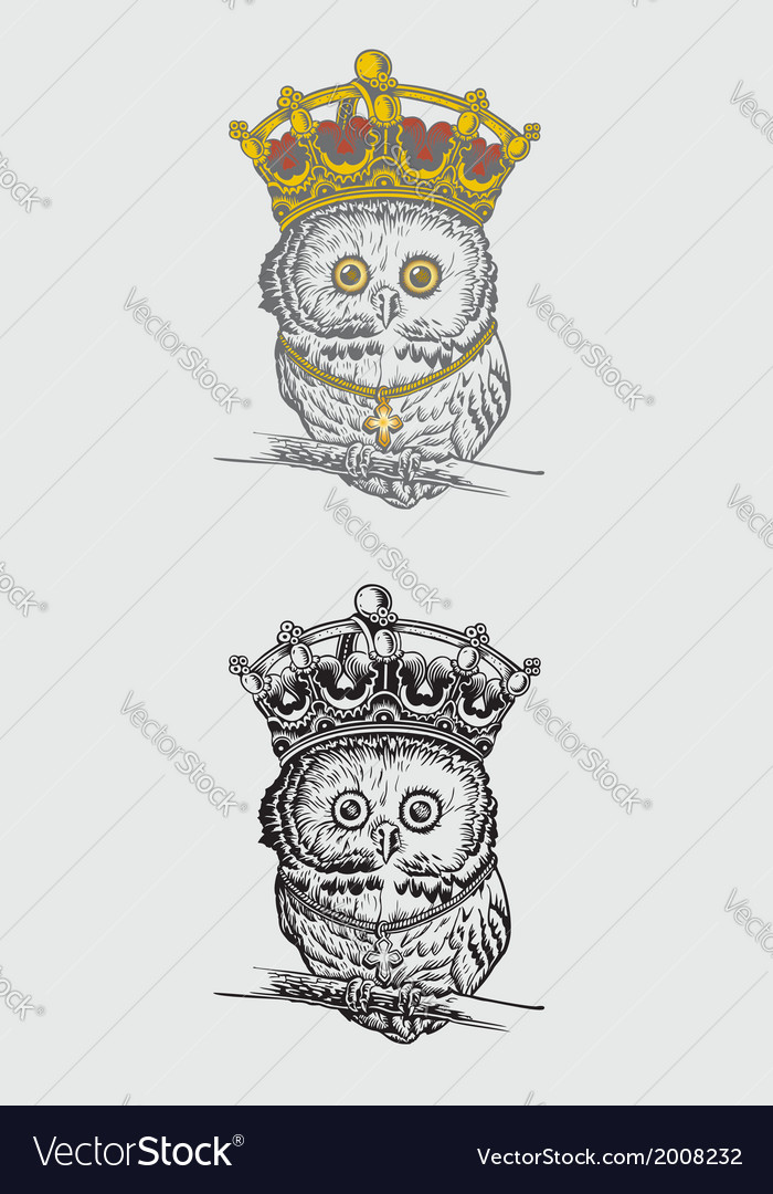The king owl drawing vector | Price: 1 Credit (USD $1)