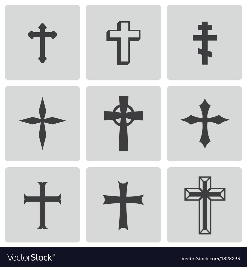 Black christia crosses icons set vector | Price: 1 Credit (USD $1)
