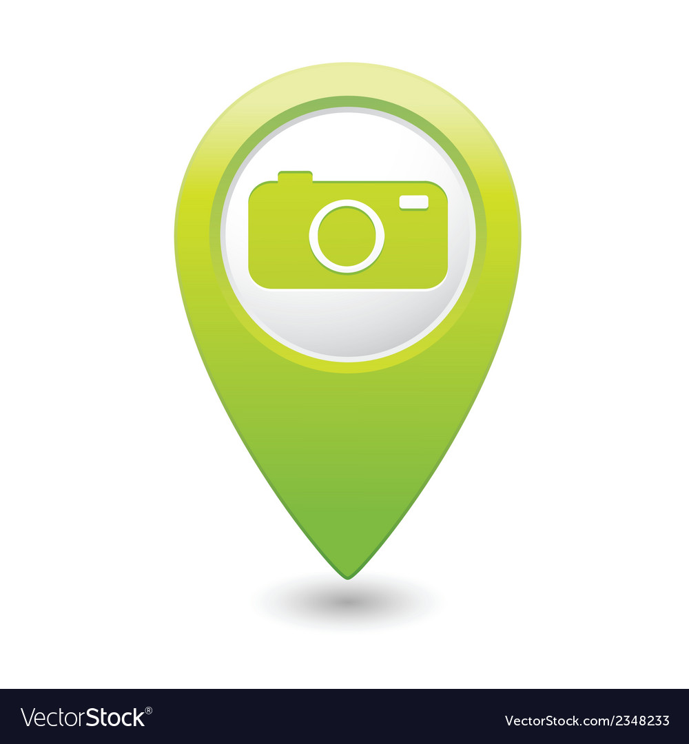 Camera icon on map pointer green vector | Price: 1 Credit (USD $1)