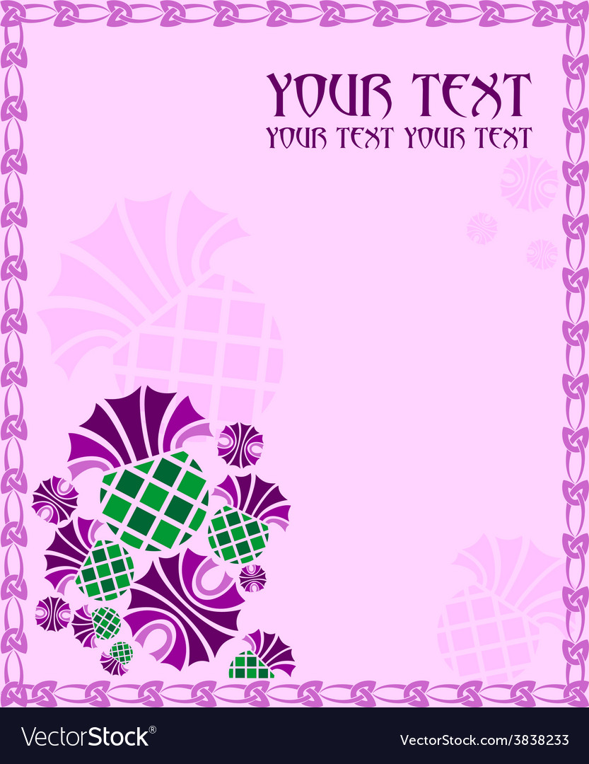 Card with flowers thistle vector | Price: 1 Credit (USD $1)