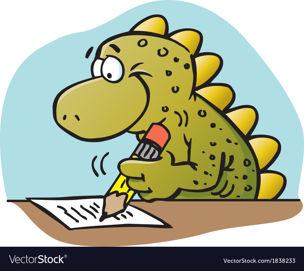 Cartoon dinosaur writing vector | Price: 1 Credit (USD $1)
