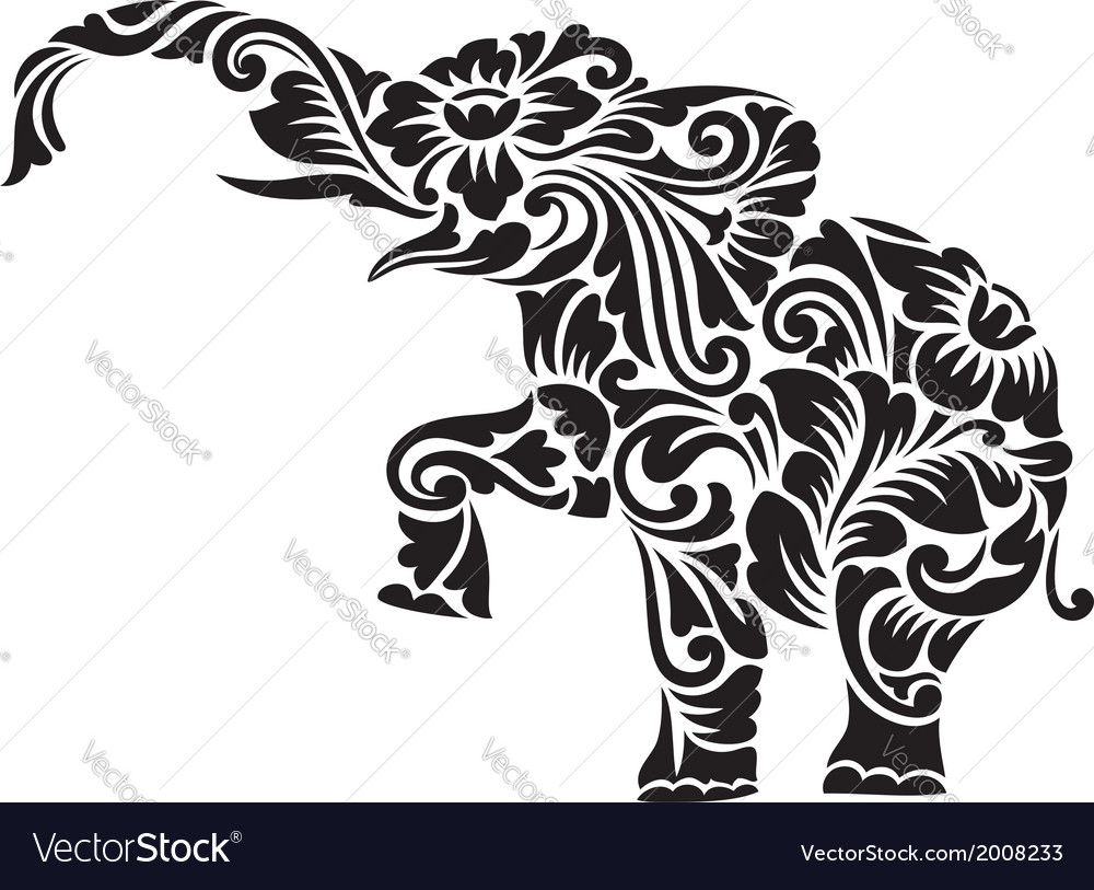 Elephant floral ornament decoration vector | Price: 1 Credit (USD $1)