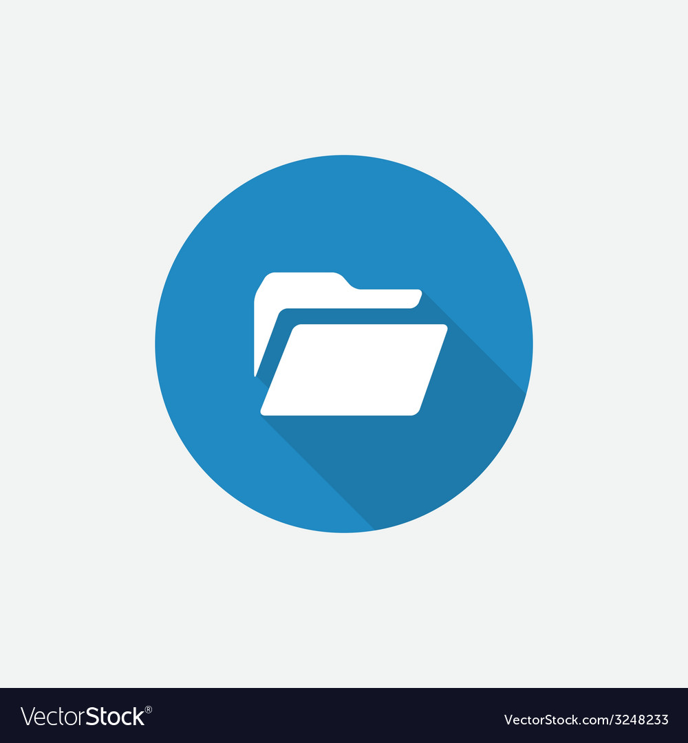 Folder flat blue simple icon with long shadow vector | Price: 1 Credit (USD $1)