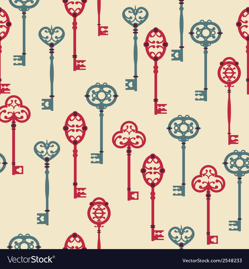 Seamless pattern with cute vintage keys vector | Price: 1 Credit (USD $1)