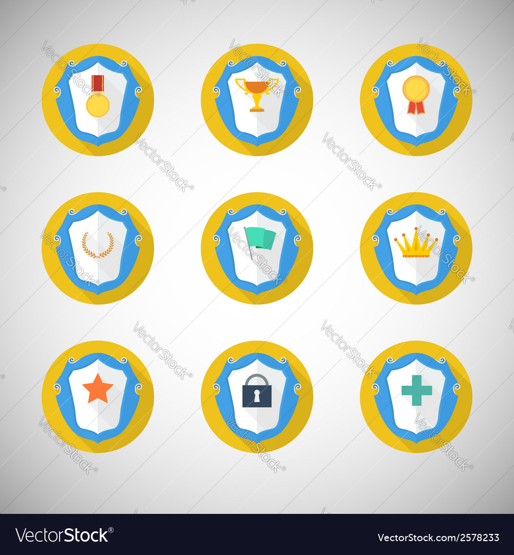 Trophy and awards icons in flat design style vector   Price: 1 Credit (USD $1)