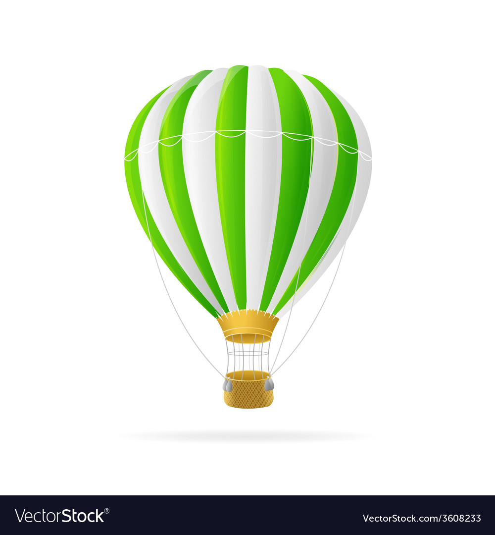 White and green hot air ballon isolated vector | Price: 1 Credit (USD $1)