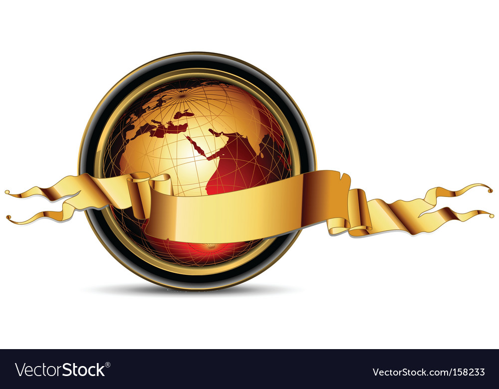 World with ribbon vector | Price: 1 Credit (USD $1)