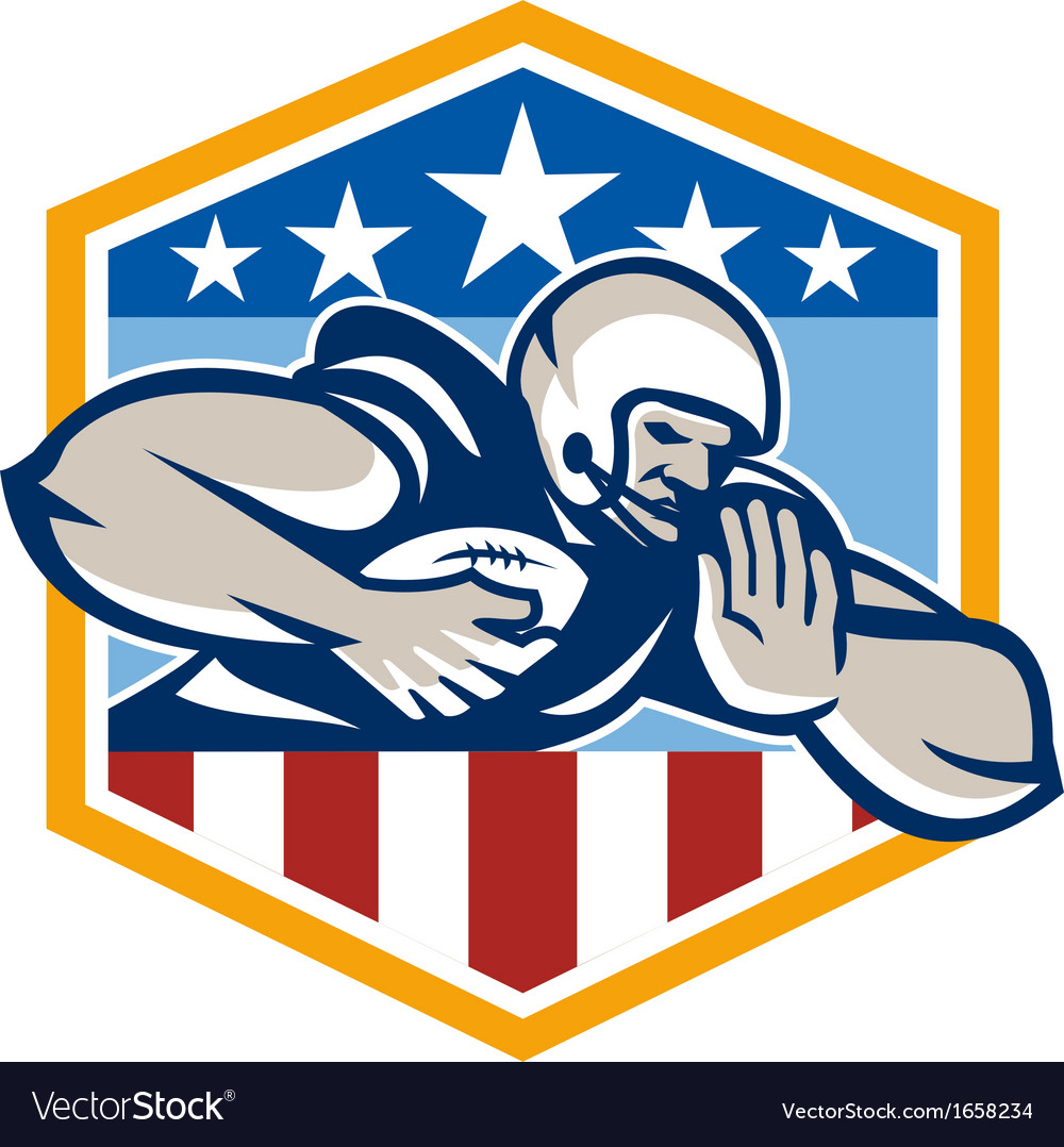 American football running back fend-off crest vector | Price: 1 Credit (USD $1)