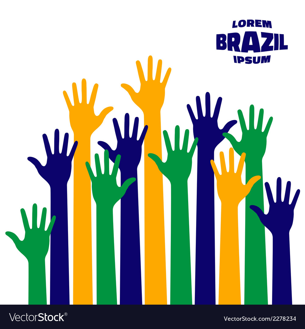 Colorful up hands icon using brazil flag colors vector | Price: 1 Credit (USD $1)