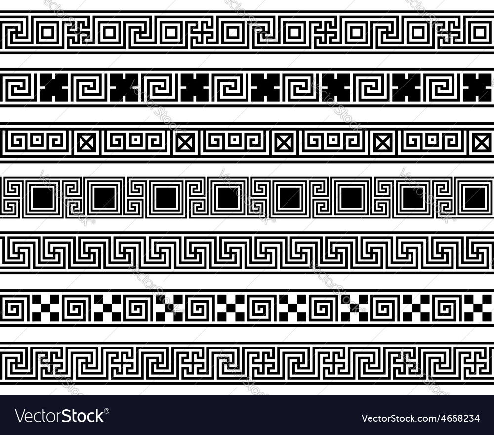 Different meander ansient patterns wide frame vector | Price: 1 Credit (USD $1)
