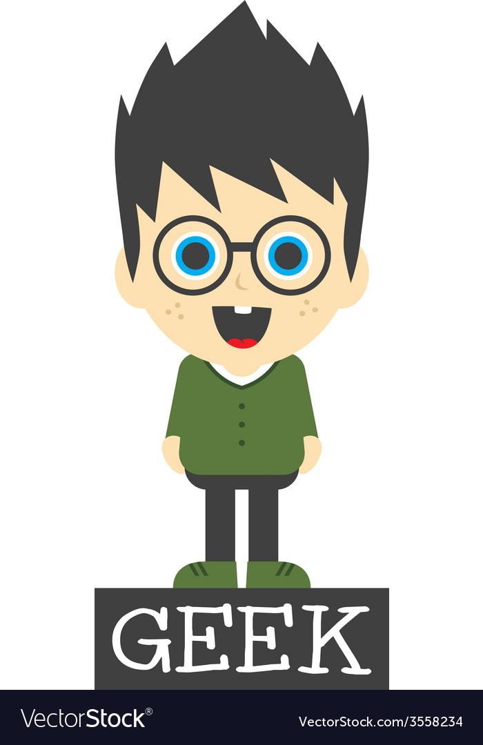 Geek boy cartoon vector   Price: 1 Credit (USD $1)