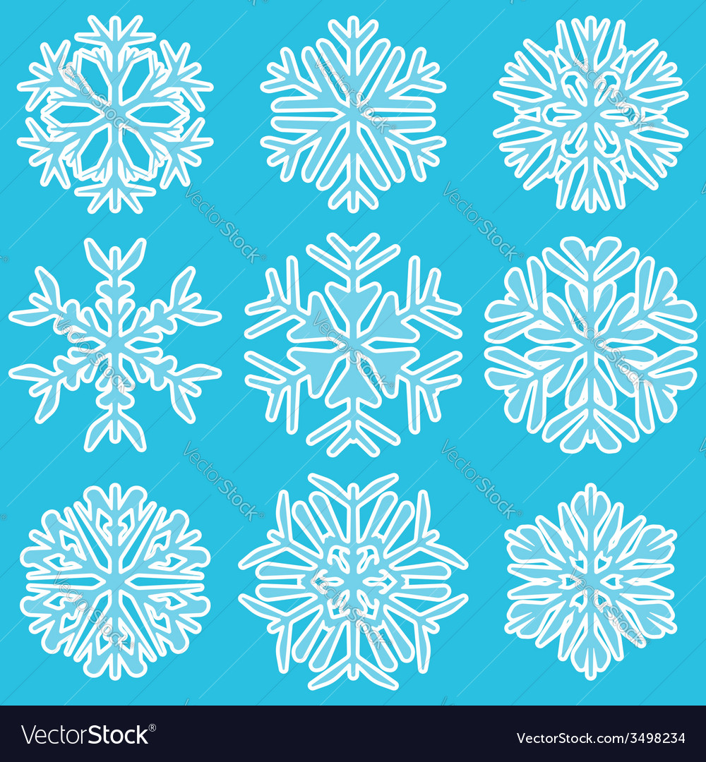 Geometric blue snowflakes vector | Price: 1 Credit (USD $1)