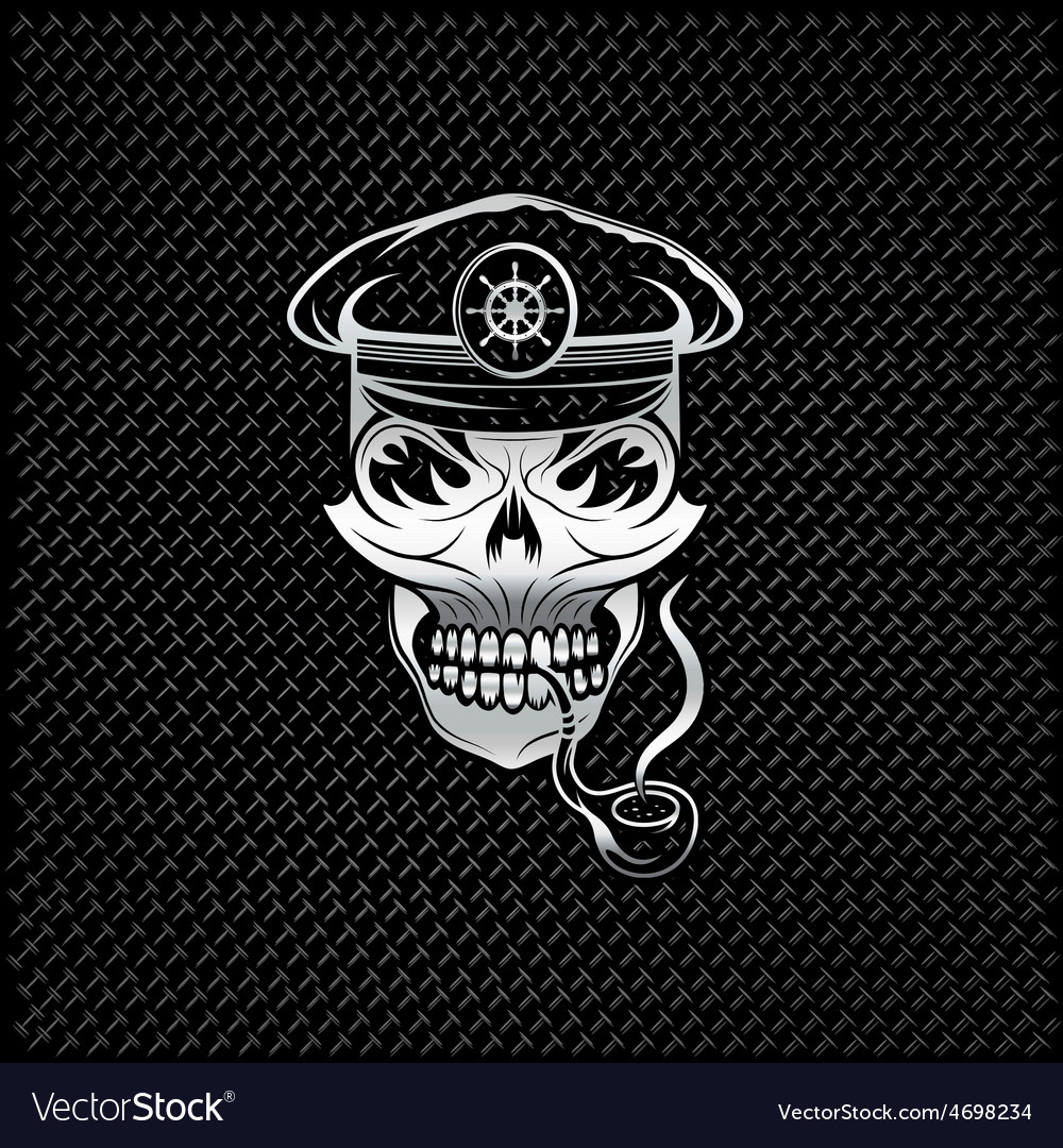Silver smoking captain skull with tobacco pipe on vector   Price: 1 Credit (USD $1)