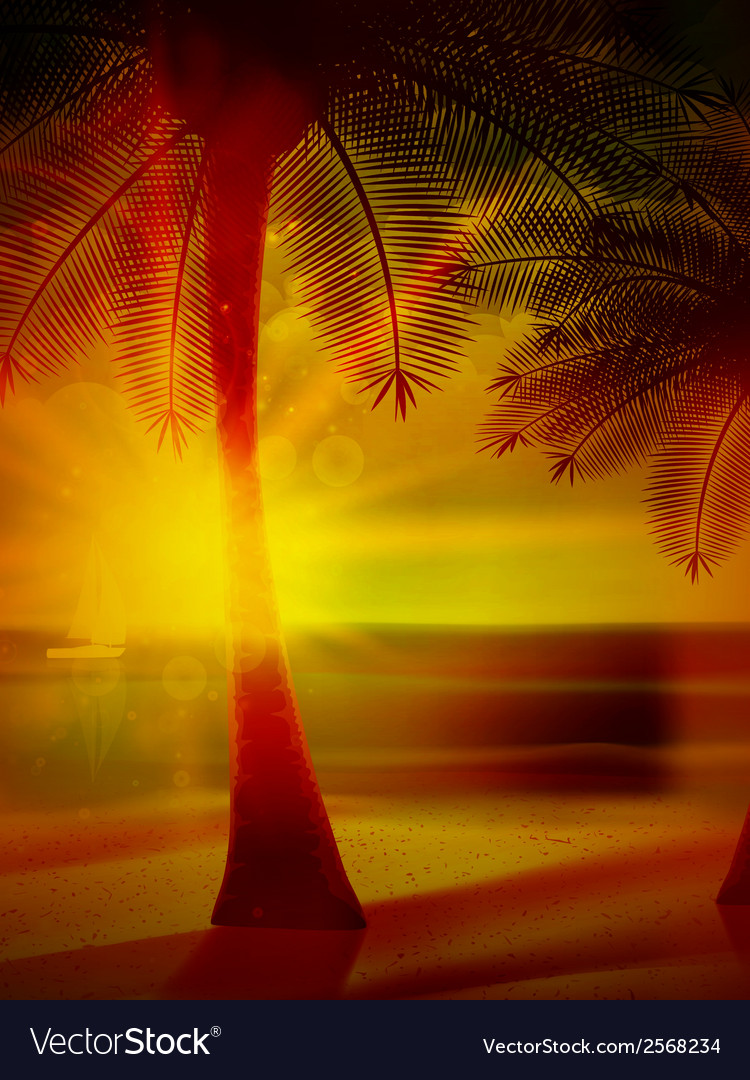 Sunset on the beach of sea vector | Price: 1 Credit (USD $1)