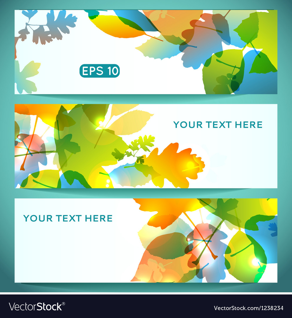 Three banners of shiny colorful autumn leaves vector | Price: 1 Credit (USD $1)