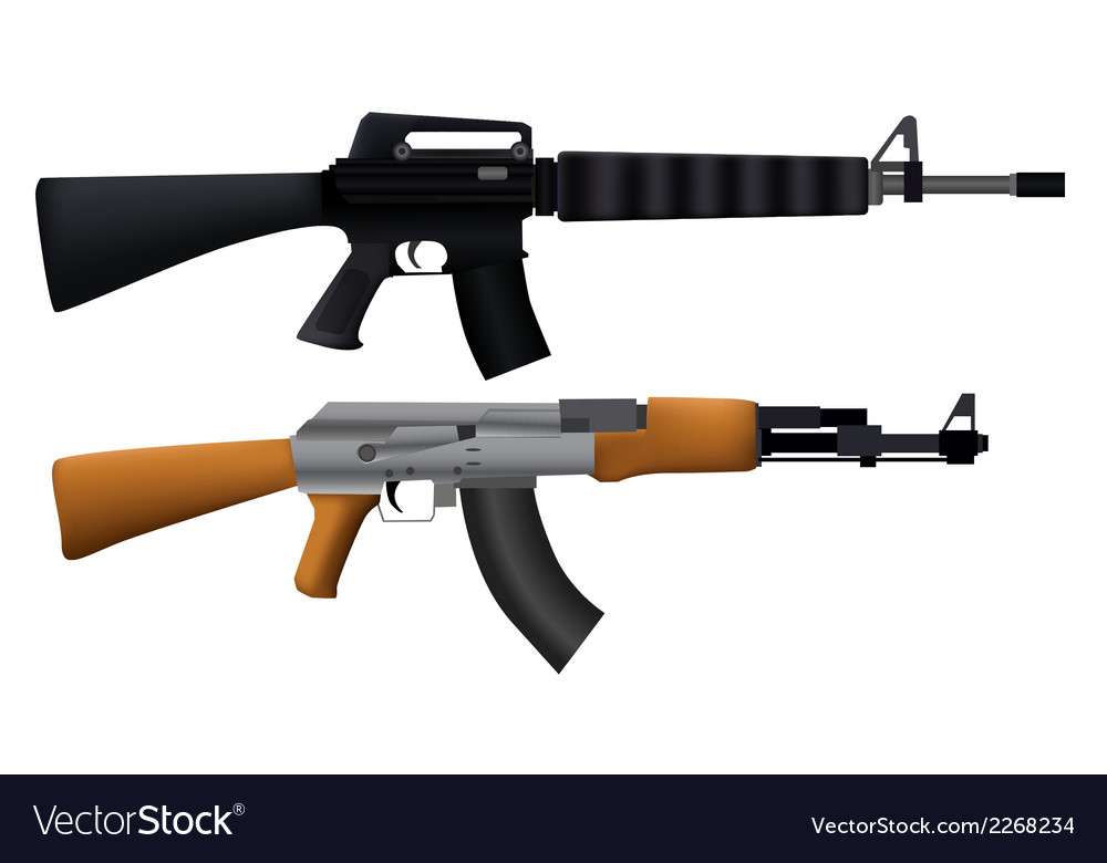 Two machine guns vector | Price: 1 Credit (USD $1)