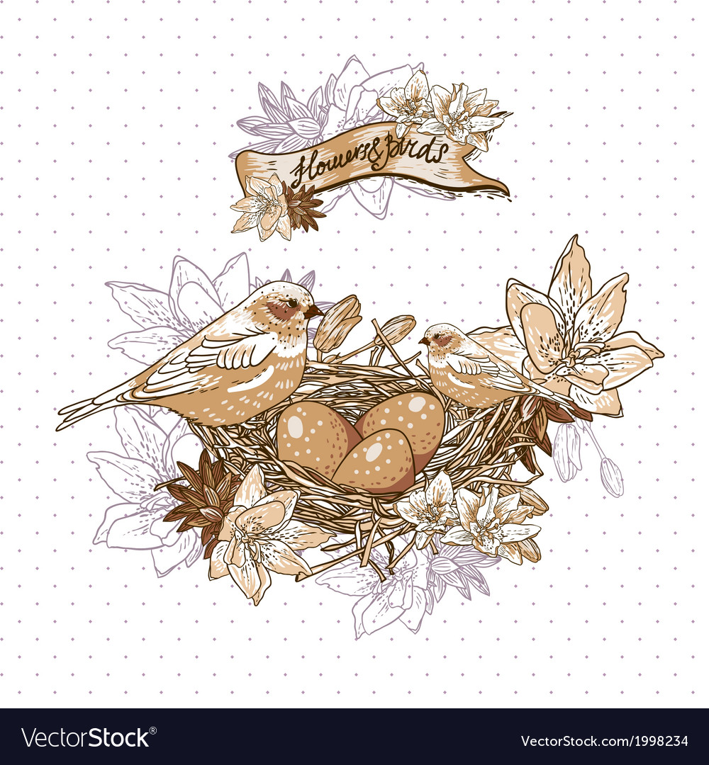 Vintage floral background with birds and nest vector | Price: 1 Credit (USD $1)