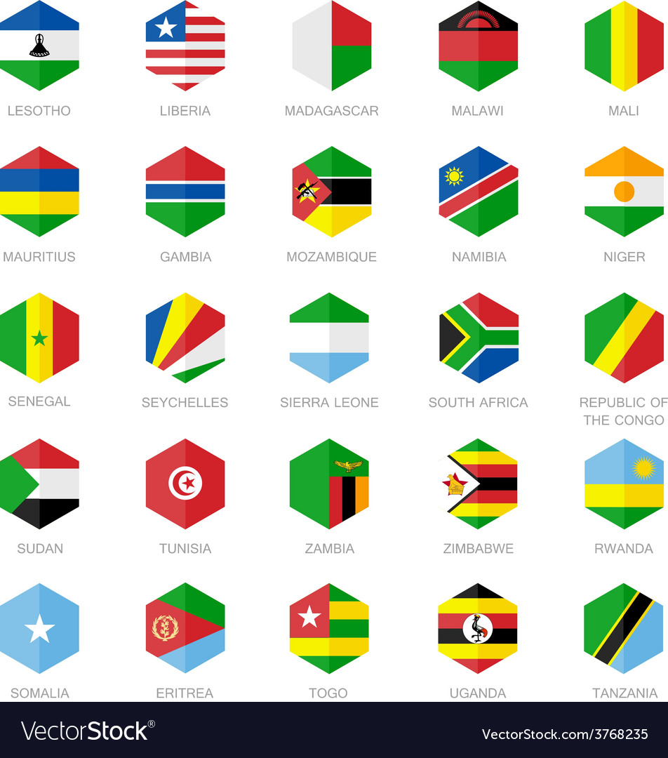 Africa flag icons hexagon flat design vector | Price: 1 Credit (USD $1)