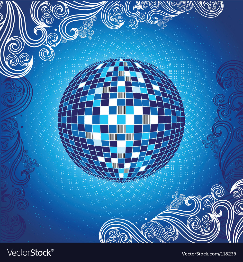 Background with blue disco ball vector | Price: 1 Credit (USD $1)