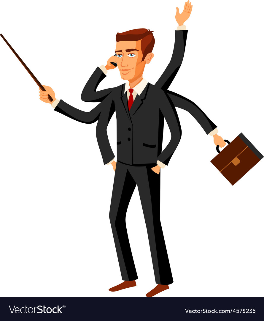 Businessman running ihurry with many hands holding vector   Price: 1 Credit (USD $1)