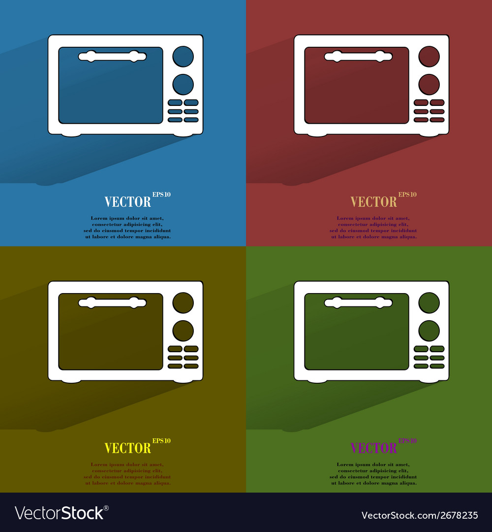Color set microwave kitchen equipment flat modern vector | Price: 1 Credit (USD $1)