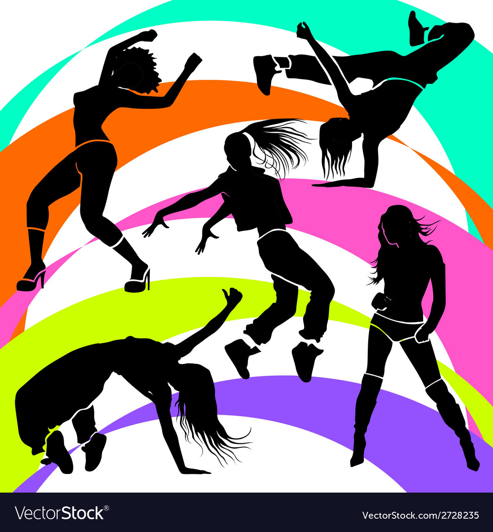 Girl dancer athletic club clubbers clubbing vector | Price: 1 Credit (USD $1)