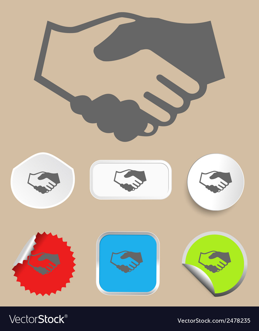 Handshake icon with stickers vector | Price: 1 Credit (USD $1)