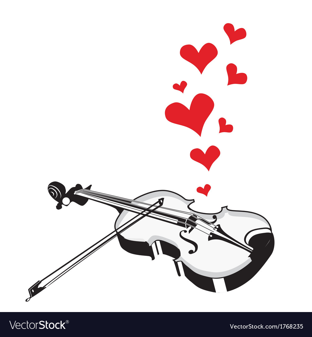 Heart love music violin playing a song for valenti vector | Price: 1 Credit (USD $1)