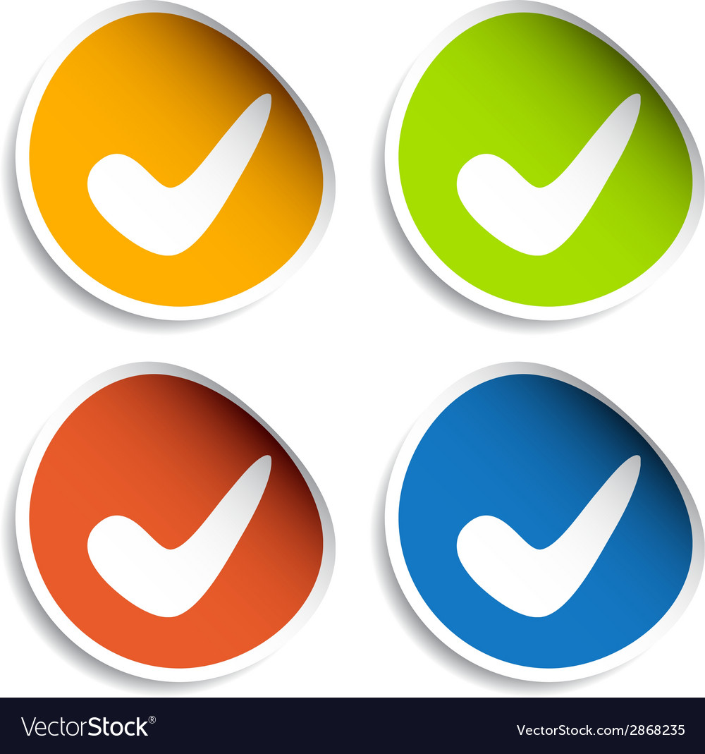 Positive checkmark stickers vector | Price: 1 Credit (USD $1)