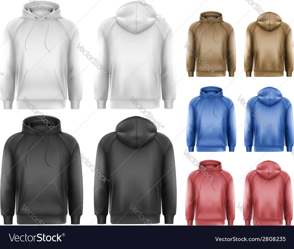 Set of black and white and colorful male hoodies vector | Price: 1 Credit (USD $1)