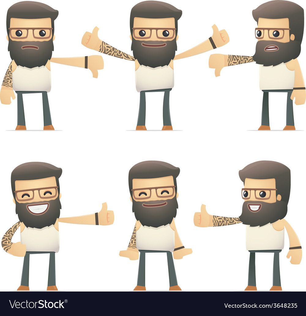 Set of tattoo artist character in different poses vector   Price: 1 Credit (USD $1)