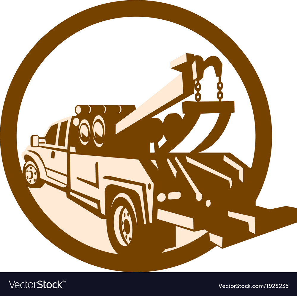Tow truck wrecker rear retro vector | Price: 1 Credit (USD $1)