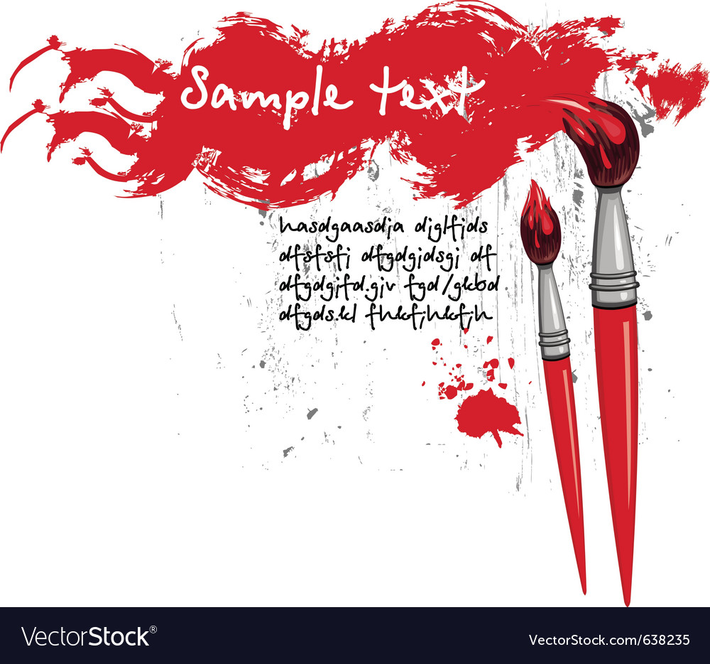 Two brushes and red banner vector | Price: 1 Credit (USD $1)