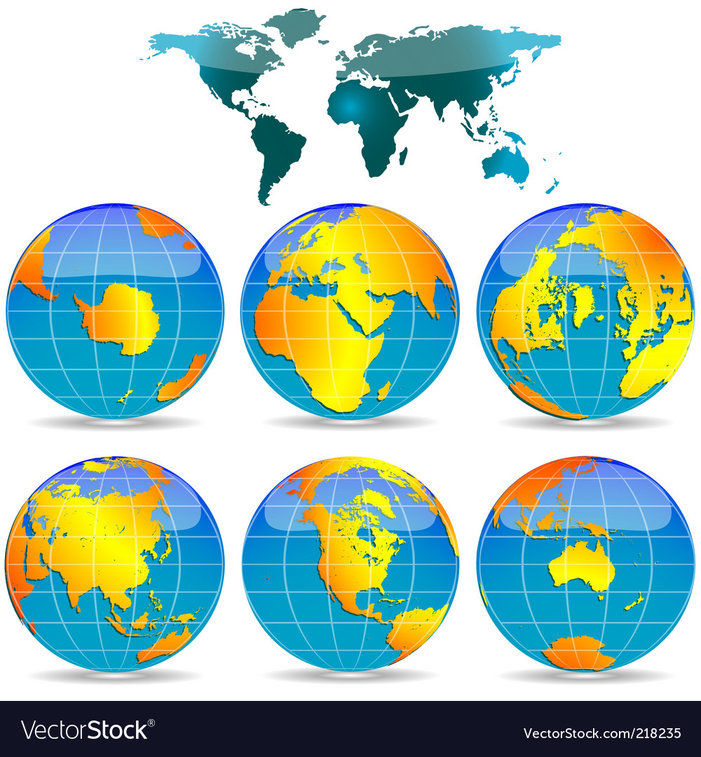 World globes vector | Price: 1 Credit (USD $1)
