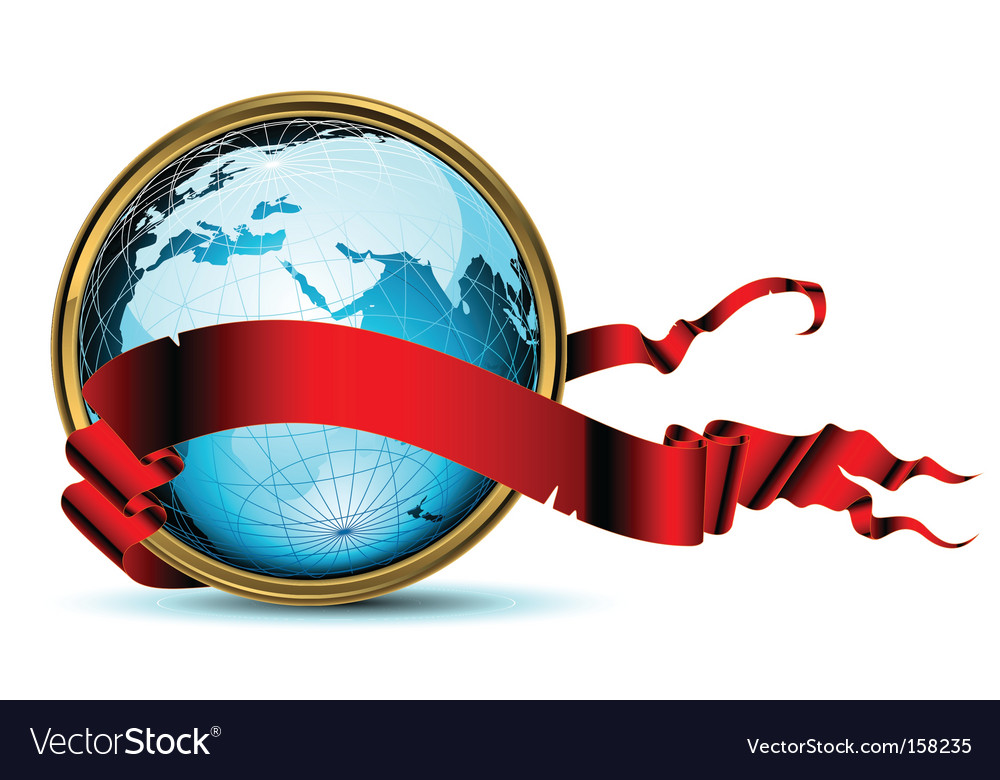 World with ribbon vector | Price: 3 Credit (USD $3)