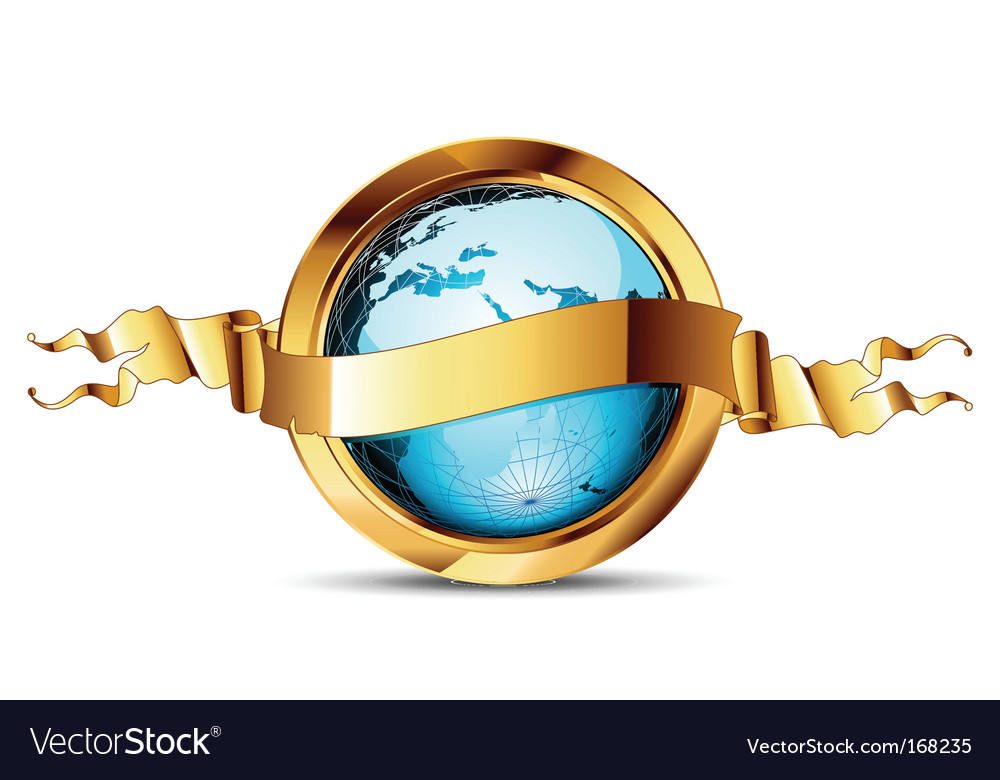 World with ribbon vector   Price: 1 Credit (USD $1)