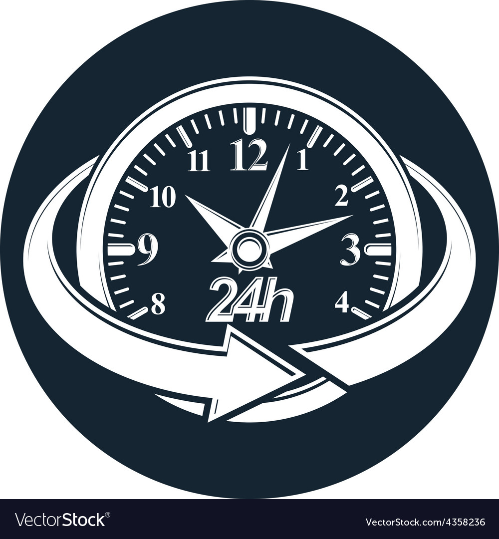 24 hours-a-day concept clock face with a dial and vector | Price: 1 Credit (USD $1)