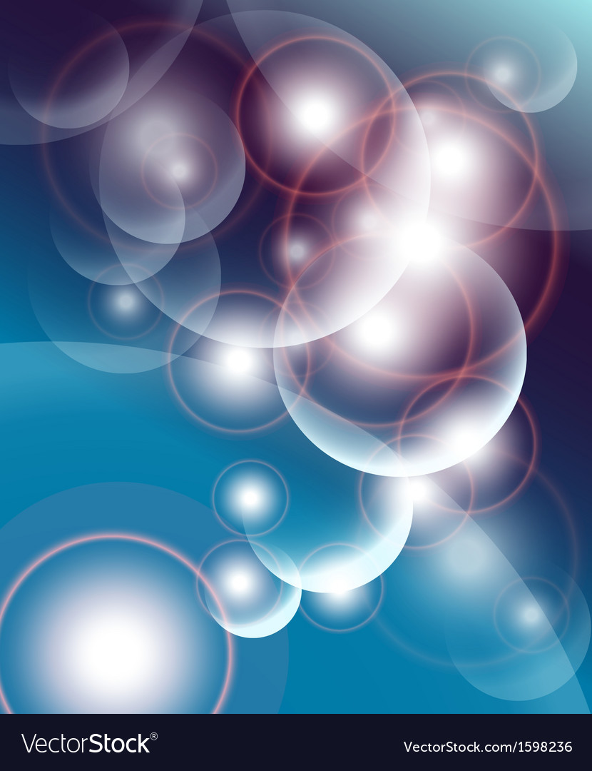 Abstract background dark blue with bubbles and lig vector | Price: 1 Credit (USD $1)
