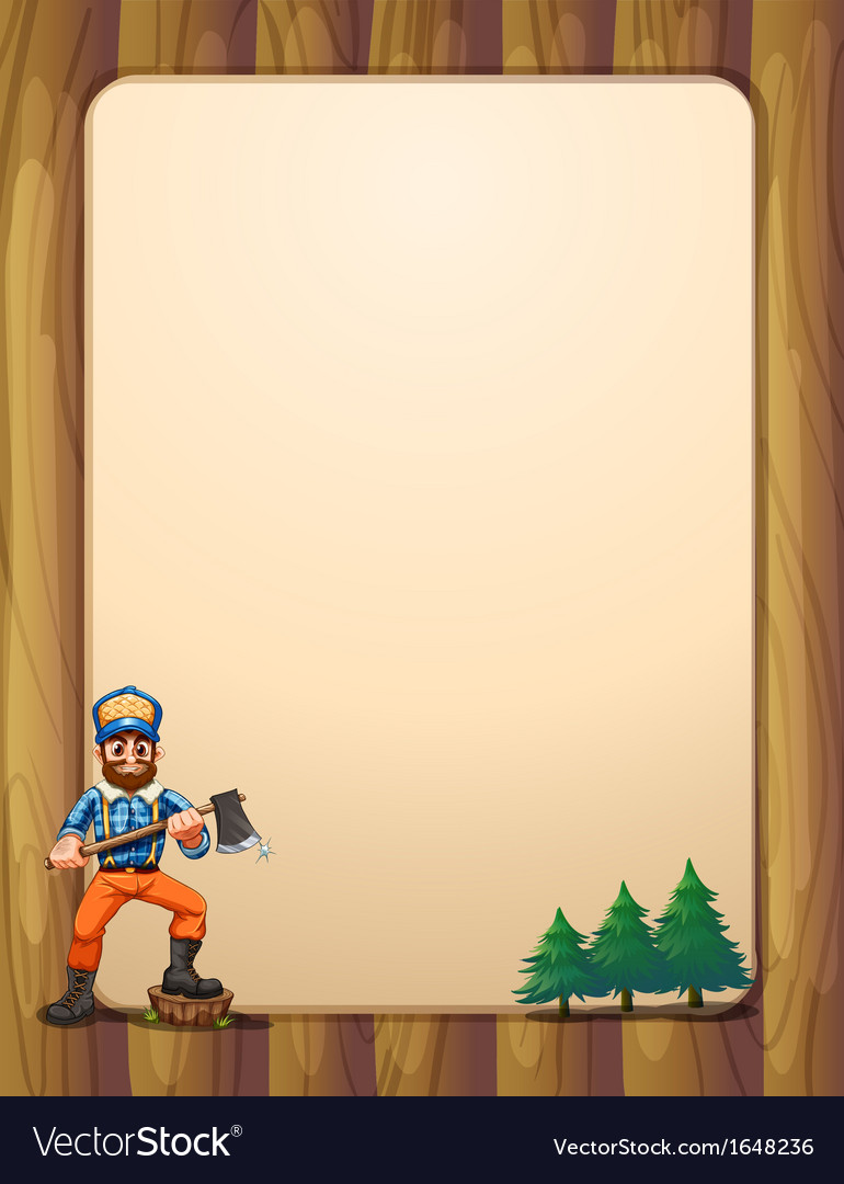 An empty wooden frame with a lumberjack holding an vector | Price: 1 Credit (USD $1)
