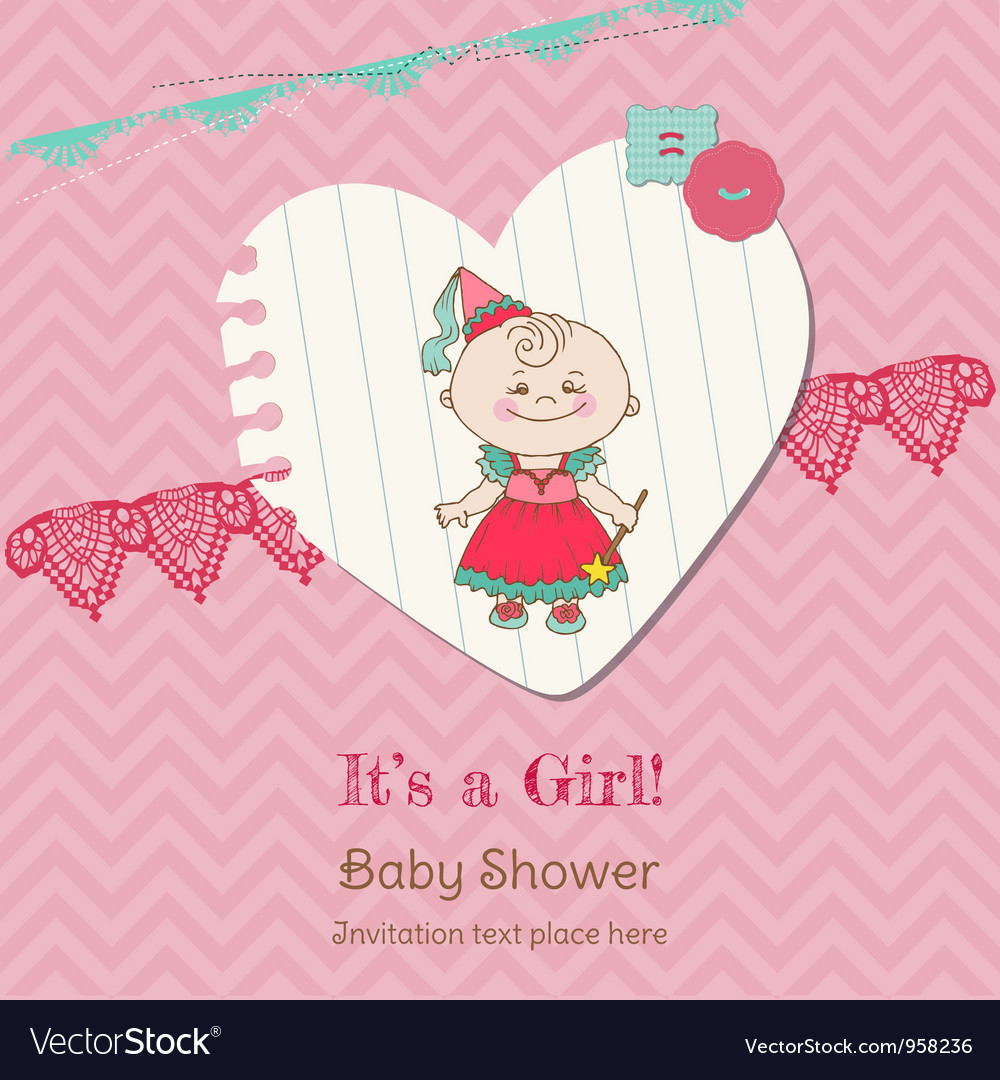 Baby girl shower and arrival card vector | Price: 1 Credit (USD $1)