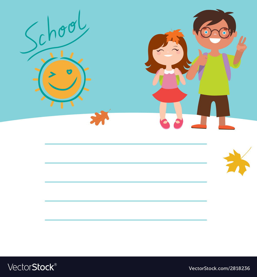 Back to school design with two kids vector | Price: 1 Credit (USD $1)