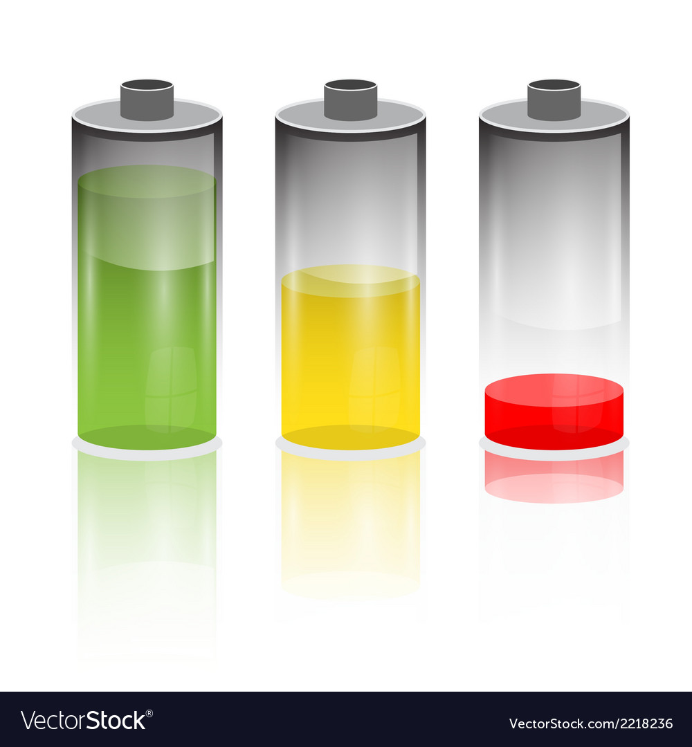 Battery life icon set isolated on white background vector | Price: 1 Credit (USD $1)