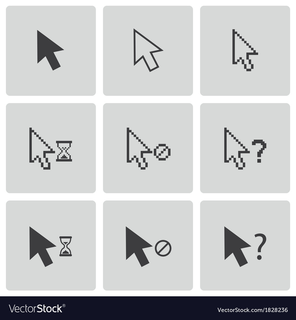 Black mouse cursor icons set vector | Price: 1 Credit (USD $1)