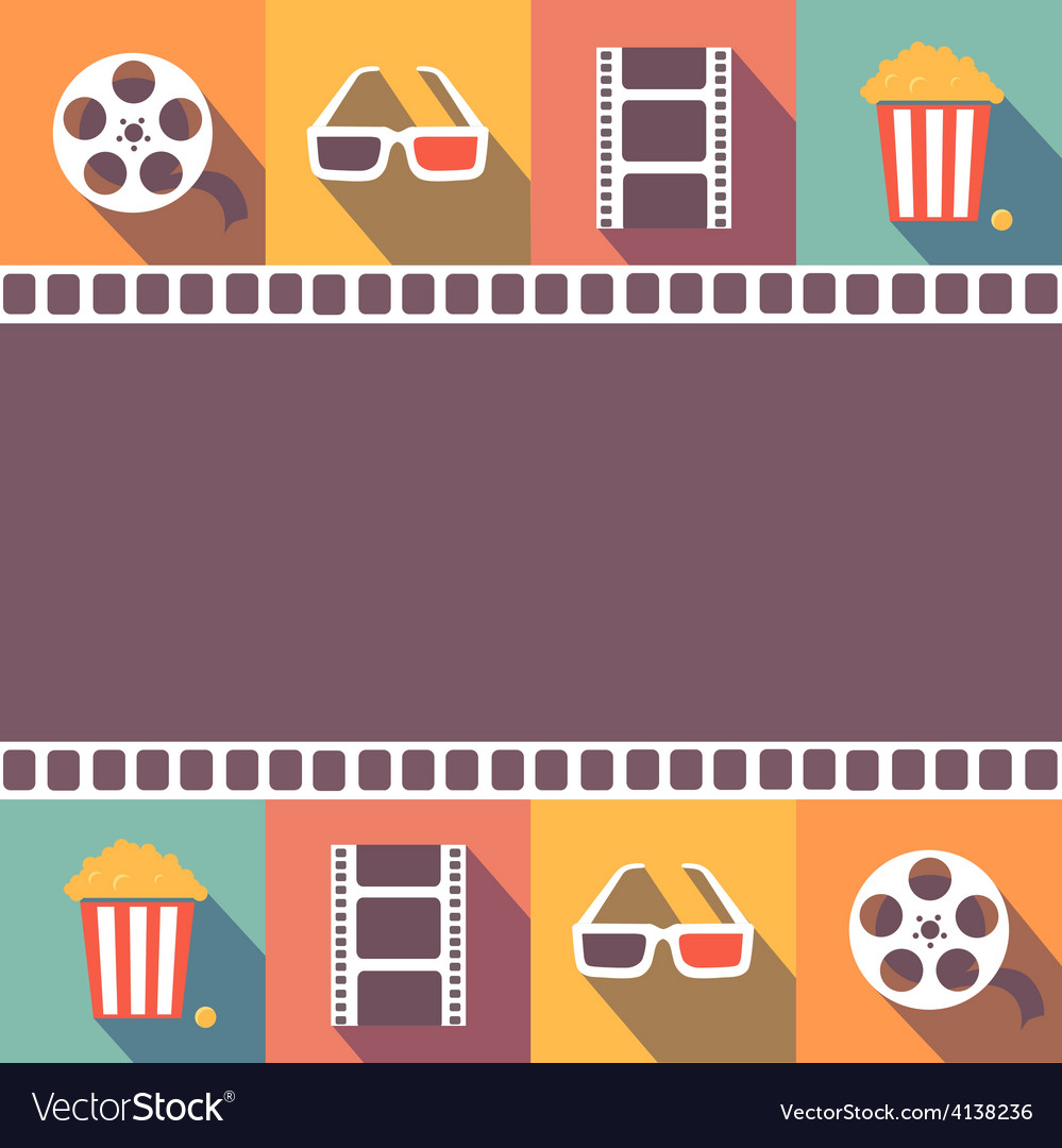 Cinema icons set flat style signs vector | Price: 1 Credit (USD $1)