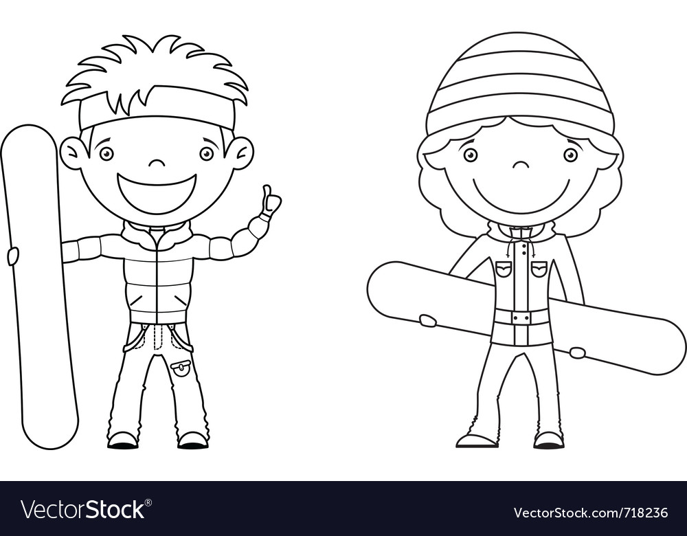 Cute cheerful kids with boards for snowboard vector | Price: 1 Credit (USD $1)