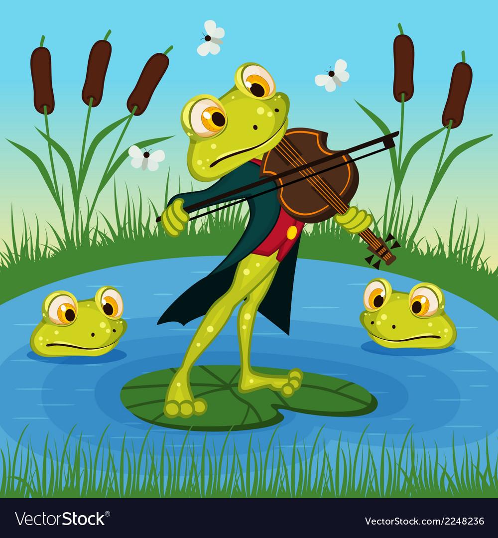 Frog plays the violin vector | Price: 1 Credit (USD $1)