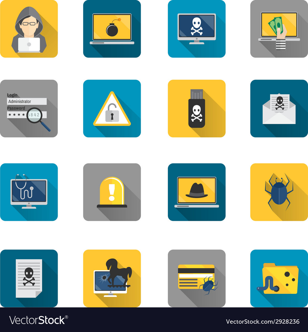 Hacker icons flat buttons vector | Price: 1 Credit (USD $1)