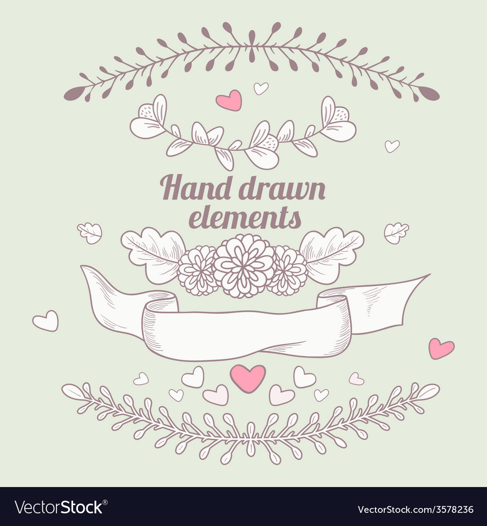Hand drawn collection of floral design elements vector | Price: 1 Credit (USD $1)