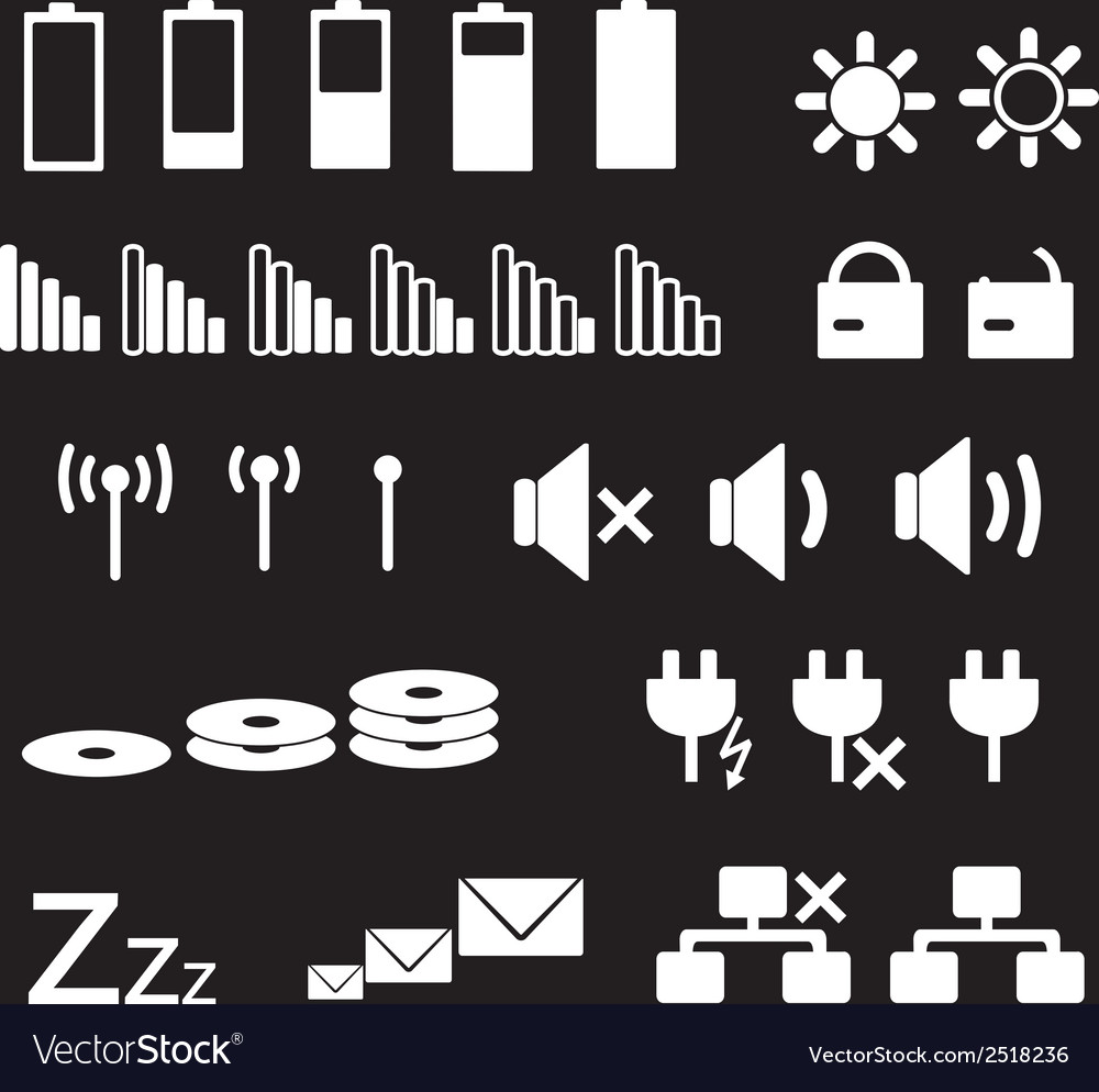 Laptop and pc indication status white icons eps10 vector | Price: 1 Credit (USD $1)